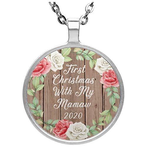 First Christmas With My Mamaw 2020 - Circle Necklace B Collar, Colgante, Bañado en Plata - Regalo para Cumpleaños, Aniversario, Día de Navidad o Día de Acción de Gracias