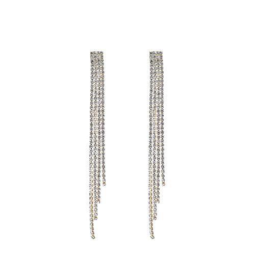 Deniferymakeup - Pendientes largos con borla y cadena de cristal y pie