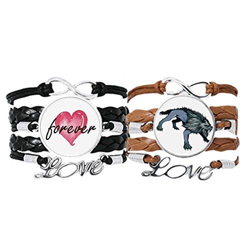 Bestchong Juego doble de pulsera de grano de arte animal de guepardo con cuerda de cuero para siempre amor