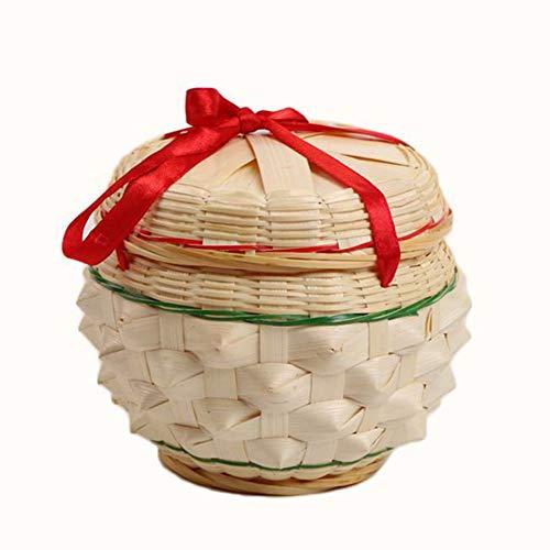 MAHFEI-Cesta De Almacenamiento Canasta De Bambú Canasta De Frutas Artesanía Mini Forma De Piña Té Almacenamiento De Dulces Tejidas A Mano Elegante Y Hermosa (Color : Natural-A 13x13cm)