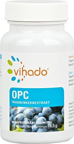 Vihado OPC Traubenkernextrakt – aus Trauben ausgewählter Anbaugebiete, in Deutschland verarbeitet – veganes Nahrungsergänzungsmittel mit OPC hochdosiert, ohne Zusätze – 110 Kapseln