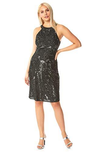 Roman Originals - Vestido para mujer con espalda desnuda con lentejuelas - Pequeños vestido negro brillante sin mangas - Estilo Art Deco, para fiestas y ocasiones especiales