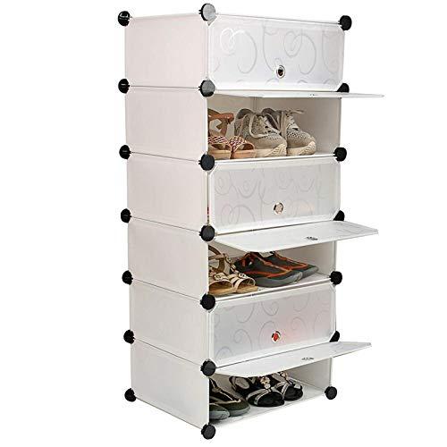 Estante De Almacenamiento De ZapatosOrganizador Botas Armarios Zapatero Estantes Cubo Soporte Para Ropa (Size:Product Size: 45 X 75 X 36 Cm; Color:White)