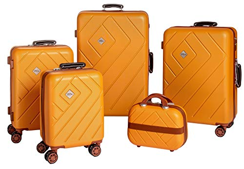 Enrico Coveri Moving Set Quattro Trolley + Beauty Case da Viaggio, Valigie Rigide ABS Arancio e Marrone in Quattro Dimensioni
