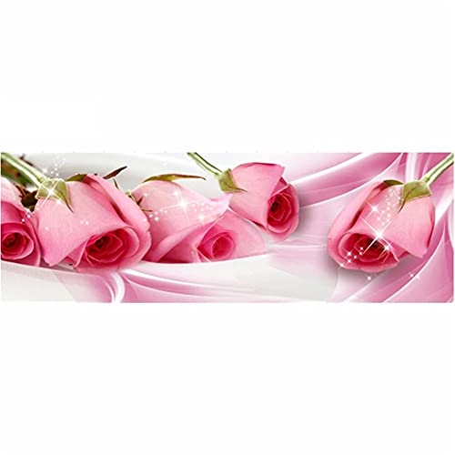 DIY 5D Grande Pintura Diamante Flor rosa rosa Kits,Diamond Painting Full Drill,Crystal Rhinestone bordado fotos arte Craft para la decoración del hogar 80x160cm Square Drill
