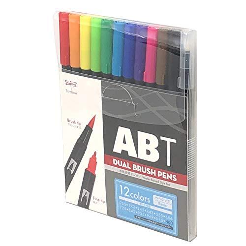 トンボ鉛筆 筆ペン デュアルブラッシュペン ABT 12色セット ベーシック AB-T12CBA