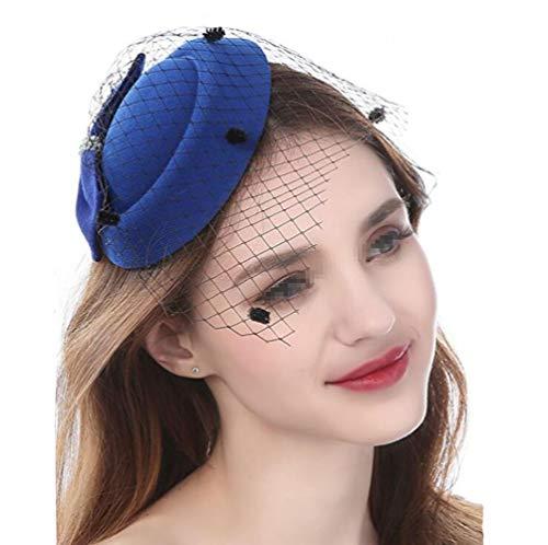 Damenhut mit Schleife, für Derby, Hochzeit, mit Seitenclip und Schleier, Fascinator, Partyhut für Mädchen und Frauen