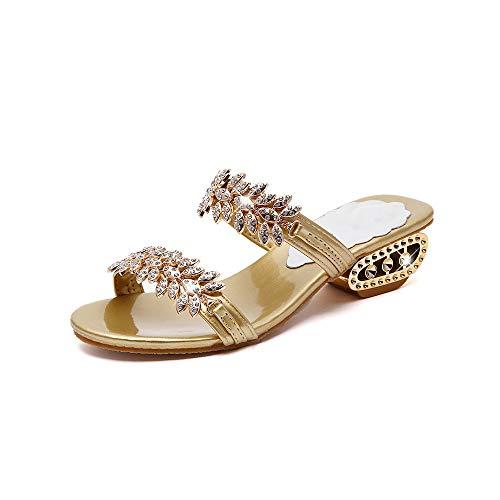 ZJMM Sandalias Y Zapatillas De Flores Doradas De Talla Grande para Mujer Zapatos De Mujer con Sandalias Casuales De Tacón Grueso Informal Sandalias De Playa para Mujer