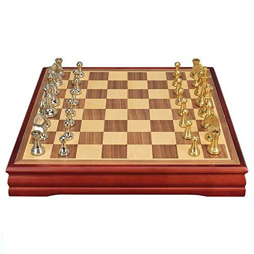 SOAR Schachspiel Schach-Set für Kinder und Erwachsene Klassische Familienschachbrettspiel mit Holzschachbrett 3D-Harz-Schachfiguren und Lager-Slots