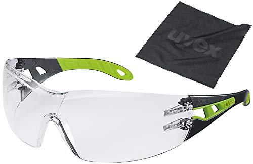 Uvex pheos - Gafas de trabajo y paño de limpieza (EN 166 y 170), color negro y verde