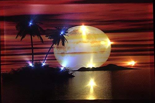 Samarkand-Lights LED-Bild mit Beleuchtung LED- Bilder Leinwandbild 65 x 45 cm Leuchtbild Sonnenuntergang/MOND Wandbild