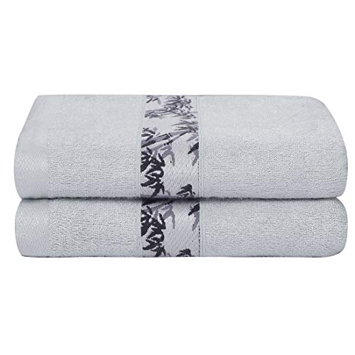 PiccoCasa Bamboo Bath Towels Extra Absorbent and Eco-Friendly Luxury Hotel Spa Towel Set of 2 Gray