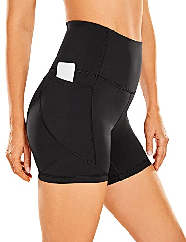 CRZ YOGA Women's Biker Shorts Workout for Women Naked Feeling Athletic Yoga Shorts Tights with Side Pockets-5 Inches Black Small