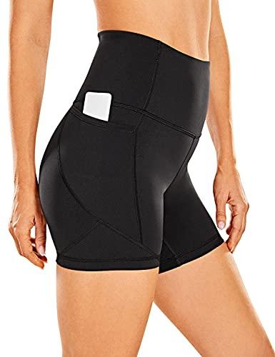CRZ Yoga Pantalones Cortos de Motociclista para Mujer con sensación Desnuda, Pantalones Cortos de Yoga atléticos con Bolsillos Laterales, 5 Pulgadas
