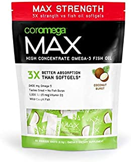 Coromega MAX High Concentrate Omega 3 Fish Oil, 2400mg Omega-3s with 3X Better Absorption Than Softgels, 60 Single Serve P...