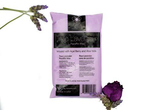 Paraffin Wax refill by Fleur De Spa, 6 lbs bulk, True Lavender, Infused with Acai, Coconut oil, Jojoba and Aloe