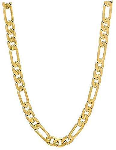 24ct Gold Figaro Necklace Chain for Men Women White Gold Edgy Hip Hop Classic Gift Real Solid Clasp (61.00, Gold)
