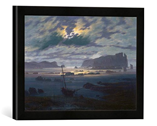 Gerahmtes Bild von Caspar David Friedrich Mondnacht über nordischer Meerlandschaft, Kunstdruck im hochwertigen handgefertigten Bilder-Rahmen, 40x30 cm, Schwarz matt