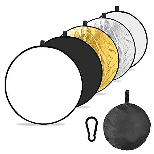 rolovee 5 in 1 Licht-Reflektoren (60CM Ø) Reflektor Fotografie Tragbarer Faltbarer für Kamera Reflektor, Studio, Licht Diffusor (durchlässig/Silber/Gold/weiß/schwarz)