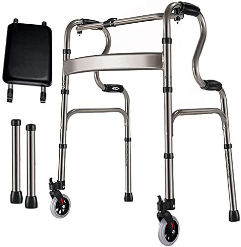 Las personas mayores plegan a los caminantes rodantes con asiento, caminante de rollador de altura ajustable ligero, ayuda para caminar médica para exteriores / de interior, carga 350 libras