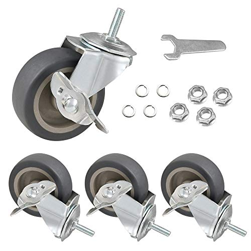 """JEMVOTIC Casters, 5/16""""-18x1""""(Screw Diameter 5/16"""", Screw height 1"""") Threaded Stem Casters, 3"""" Grey Rubber Casters with Brake, Casters Set of 4, Swivel Rubber Caster Wheels with Brake"""