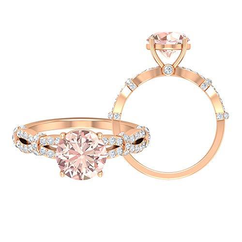 Anillo de compromiso Morganite creado por el laboratorio, piedras preciosas redondas de 2,76 quilates, anillo solitario de diamante HI-SI de 8 mm, 14K Oro rosa, Size:EU 68