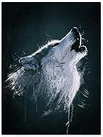 DIY5Dダイヤモンド絵画-ティンバーウルフ-動物-ダイヤモンド絵画キットフルダイヤモンドクリスタルラインストーンモザイク画像家庭用品壁装飾ギフト16×20インチ