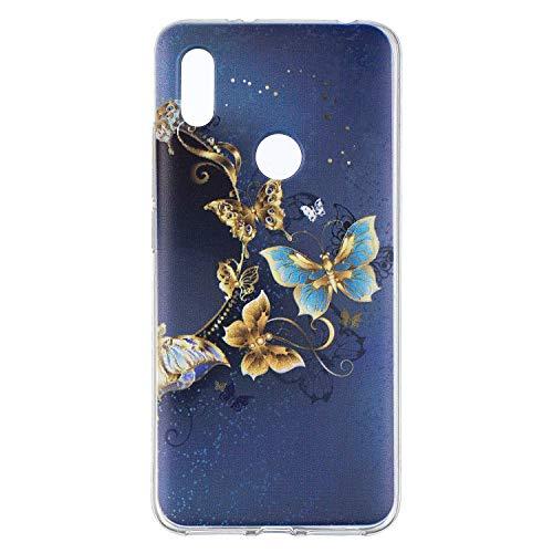 Qiaogle Teléfono Caso - Funda de TPU Silicona Carcasa Case Cover para Xiaomi Redmi S2 (5.99 Pulgadas) - HX101 / Dorado Mariposa