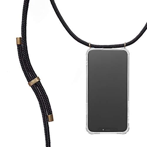 KNOK Handykette Kompatibel mitHuawei Mate 9- Silikon Hülle mit Band - Handyhülle für Smartphone zum Umhängen - Transparent Case mit Schnur - Schutzhülle mit Kordel in Schwarz