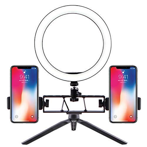 ACHICOO Selfie Ringlicht LED Kreislicht USB LED Tischlampe mit dimmbarem LED-Fülllicht für Live-Stream-Fotos Tischständer + 26cm Fülllicht + doppelte Position