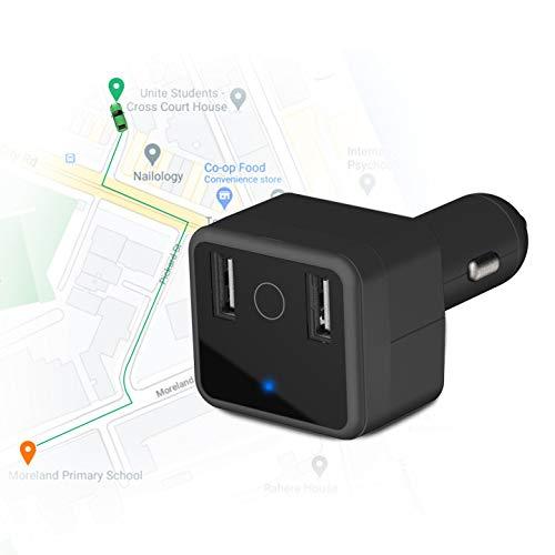Rastreador GPS Coche, Doble Cargador USB 5V 3A Dispositivo de Seguimiento de Vehículos Gestión de Flotas Alerta de Encendido Botón SOS Monitor de Audio Geo Fence GPS Localizador de Vehiculos