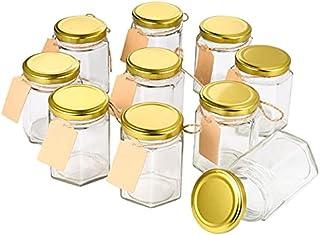 FSHB 10 pièces 180 ML Pots de Confiture de Miel en Verre Transparent avec Couvercle thé Grains de café Grains bonbonnières...