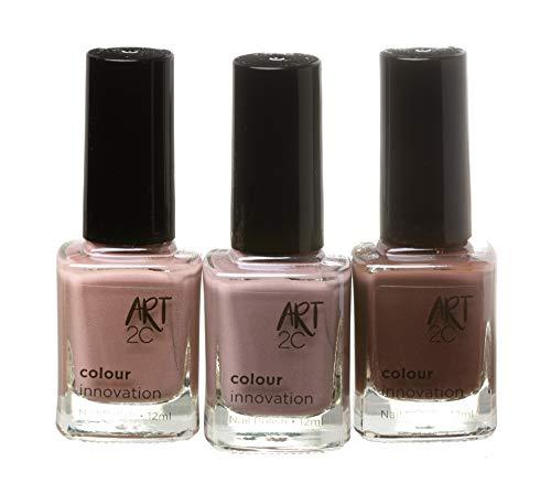 Art 2C Colour Innovation - klassischer Nagellack - 3er-Pack, 3 x 12ml - 3 dunkle Farben