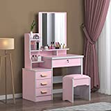 Vanity Set with Mirror & Cushioned Stool, Makeup Vanity Dressing Table with Dimming Mirror, Multi Storage Drawers Shelf for Women Girls Bathroom Bedroom Makeup【US Fast Shipment】 (Pink)
