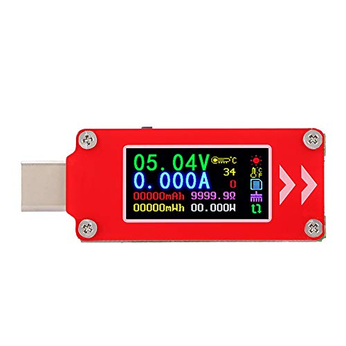 Akozon Ladegerät Tester, TC64 Farbdisplay USB PD Ladegerät Typ-C Tester Ladespannung Stromkapazität Detektor Meter Leistungsmesser Power Meter Tester Multimeter