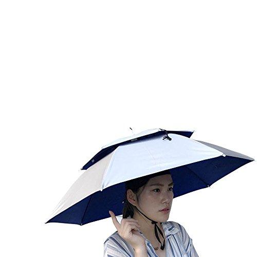 UJUNAOR Unisex Doppelte Faltbare Sonnenschutzkappe Outdoor Neuheit Regenschirm Sonnenhut Golf Angeln Camping Kostüm Multicolor(Silber)