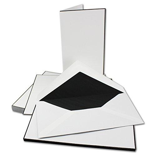 10 SETS I Trauerkarten-Set mit schwarzem Trauer-Rand - handgerändert I 10 Trauer-Doppelkarten & 10 Trauer-Umschläge I DIN Lang Zum selbst Bedrucken