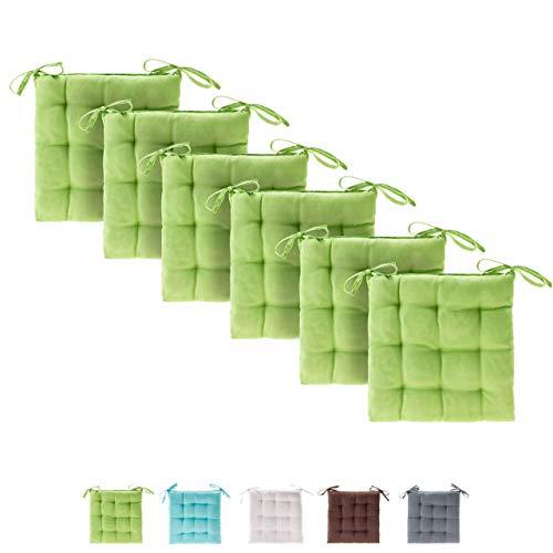 etérea Basic Sitzkissen, Stuhlkissen mit Bändern - für Innen- und Außenbereich geeignet, Sitzpolster Auflage für Haus und Garten - 6er Set - 40x40 cm, Apfelgrün