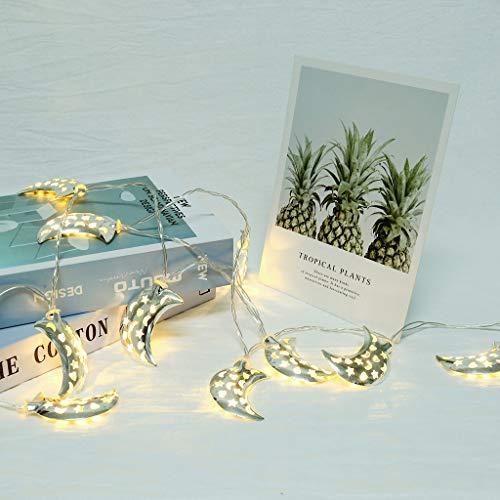FBGood - Luces de Colores con Cadena de lámparas, Cuerda de Cobre Decorativa de Forma de Luna Hueca de Metal de 10 LED, Accesorios de diseño de Vacaciones de casa