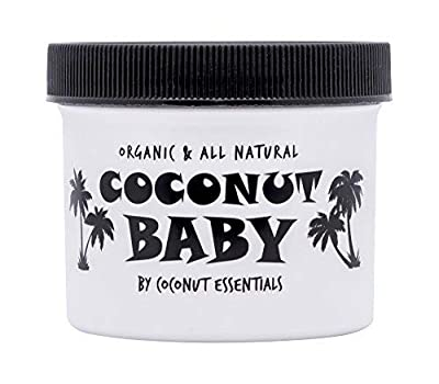 Coconut Baby Oil for Hair & Skin - Organic Moisturizer - All Natural - Massage - Sensitive Skin, Diaper Rash Guard - Infant Scalp - with Sunflower & Grape Seed oils - 2 fl oz