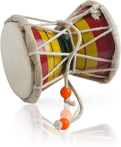 The Great Indian Bazaar Handmade Wooden & Leather Classical Indian Folk Dumroo Damroo Damaru Hand Drum Set Percussion Decorative Collectible Showpiece World Musical Instruments Fun For Adults Kids