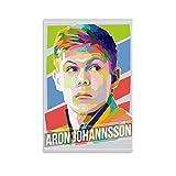 WODEWO Póster deportivo HD de Aron Johannsson con diseño de jugador de fútbol de Superestrella de fútbol y póster de pared moderno para decoración de dormitorio familiar de 40 x 60 cm