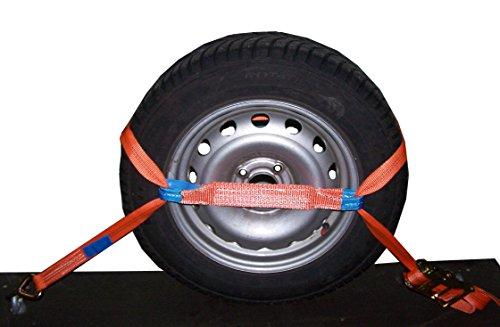 4X Spanngurt Auto Transport 35mm Zurrgurt Radsicherung PKW KFZ Trailer Reifengurt (3) - Made in Germany