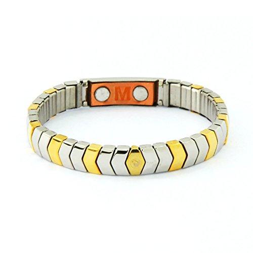 Exklusives Flex Magnetarmband bicolor gold silber mit Kupfer Energetix 4you 440 Cu Flexarmband S bis XL universal Magnetix + Schmuckpouch