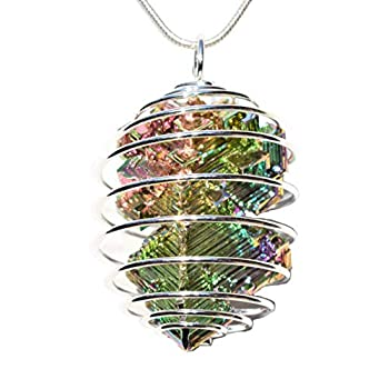 CHARGED Natural USA Grown Bismuth Crystal Perfect Pendant + 20  Silver Chain + Selenite Charging Heart Included