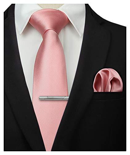 HISDERN Panuelo de corbata rosa solido para hombres Fiesta de bodas Corbata clasica y conjunto de bolsillo cuadrado