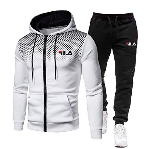 NFGH Tuta Uomo Completa Invernale - Pantaloni Tuta Uomo + Felpa da Uomo Set Felpa con Cappuccio con Zip Intera S-3xl White-L