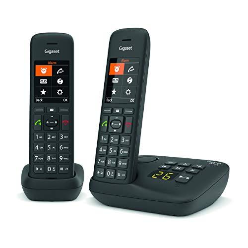 Gigaset C575A Duo - Téléphone fixe sans fil avec répondeur intégré jusqu'à 30 mn d'enregistrement, grand écran rétro-éclairé couleur, fonctions mains libres et blocage d'appels - 2 combinés - Noir