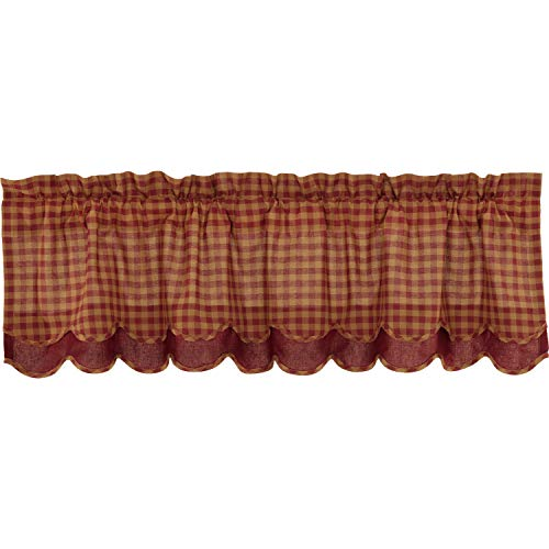 VHC Brands Burgundy Check Scalloped Layered Valance Window Country Kitchen Lined in Cotton Curtain, 16x60, Red