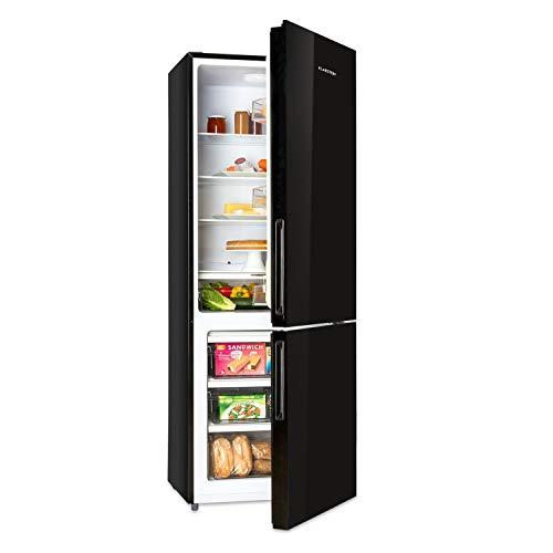 Klarstein Luminance Frost - koel-vriescombinatie, koelkast 299 L, vriezer 123 L, energie-efficiëntieklasse A +, voorkant van glas, 4 glazen planken, 3 deurvakken, 3 vriesmanden, zwart